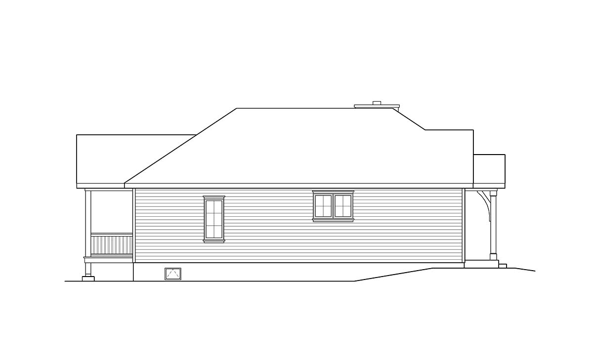 Cabin, Country, Traditional House Plan 45154 with 2 Beds, 2 Baths Picture 2