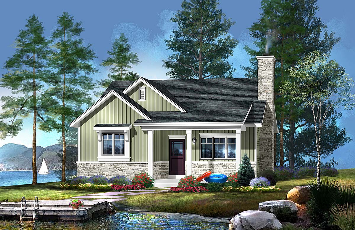 Cabin Country Craftsman House Plan 45157 Elevation