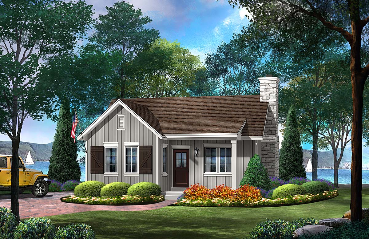Cabin Country House Plan 45158 Elevation