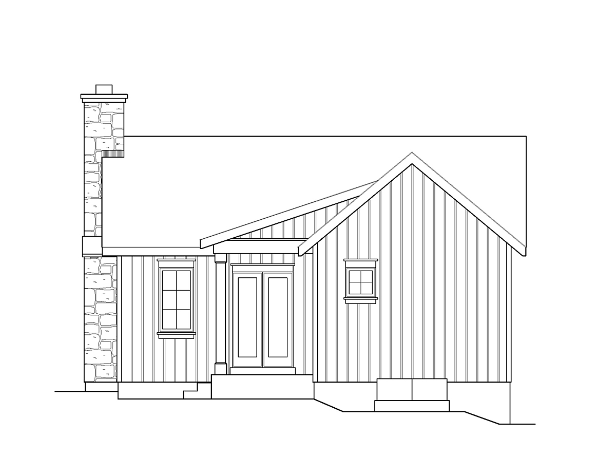 Cabin Country House Plan 45158 Rear Elevation
