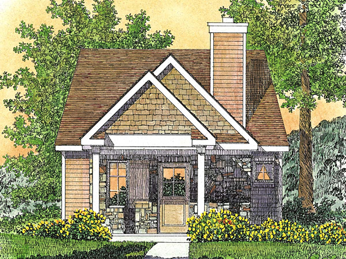 Bungalow, Cabin, Cottage, Craftsman, Narrow Lot, One-Story House Plan 45166 with 1 Beds, 1 Baths Elevation