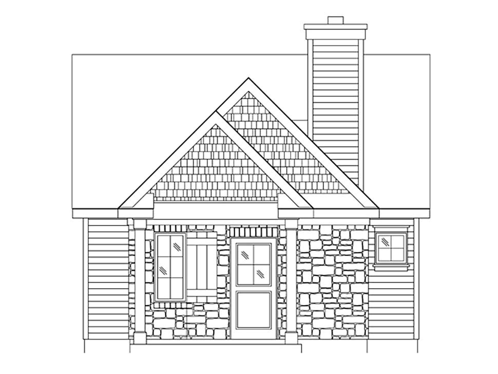 Bungalow, Cabin, Cottage, Craftsman, Narrow Lot, One-Story House Plan 45166 with 1 Beds, 1 Baths Picture 3