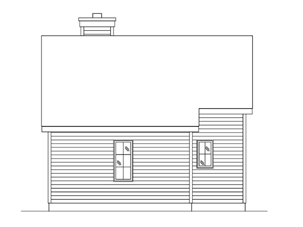 Bungalow, Cabin, Cottage, Craftsman, Narrow Lot, One-Story House Plan 45166 with 1 Beds, 1 Baths Rear Elevation