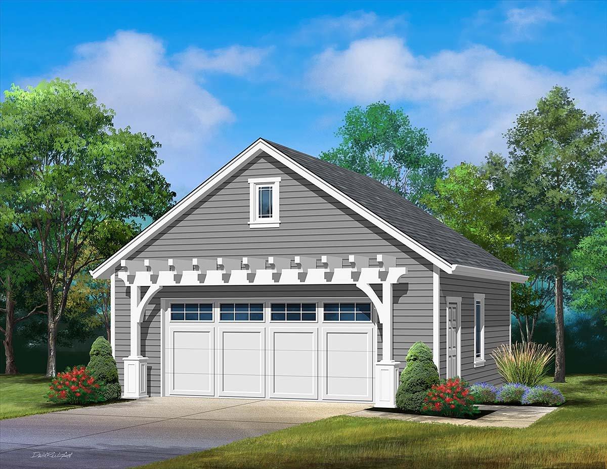2 Car Garage Plan 45181 Elevation