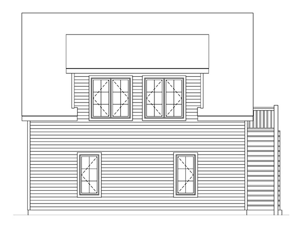 Rear Elevation of Plan 45182