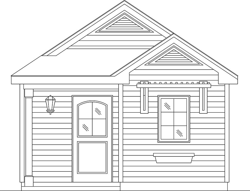 Cottage, Narrow Lot, One-Story House Plan 45187 with 1 Beds, 1 Baths Picture 3
