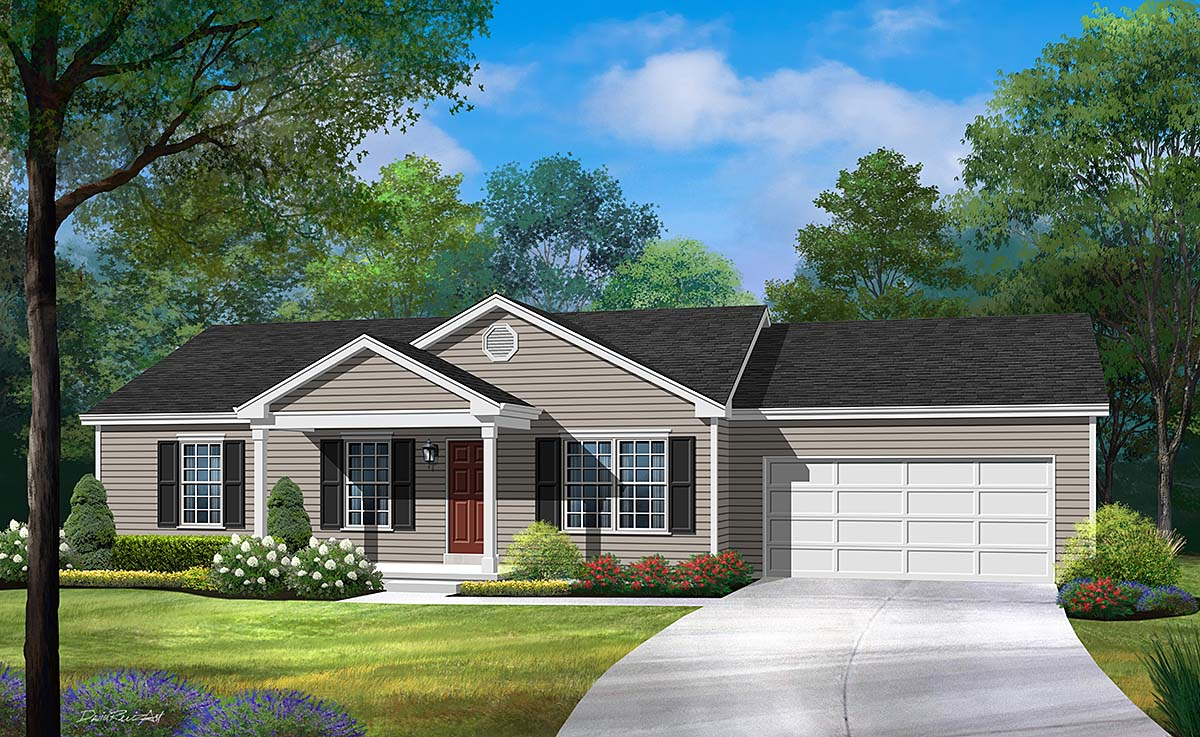 Ranch, Traditional House Plan 45194 with 3 Beds, 2 Baths, 2 Car Garage Elevation