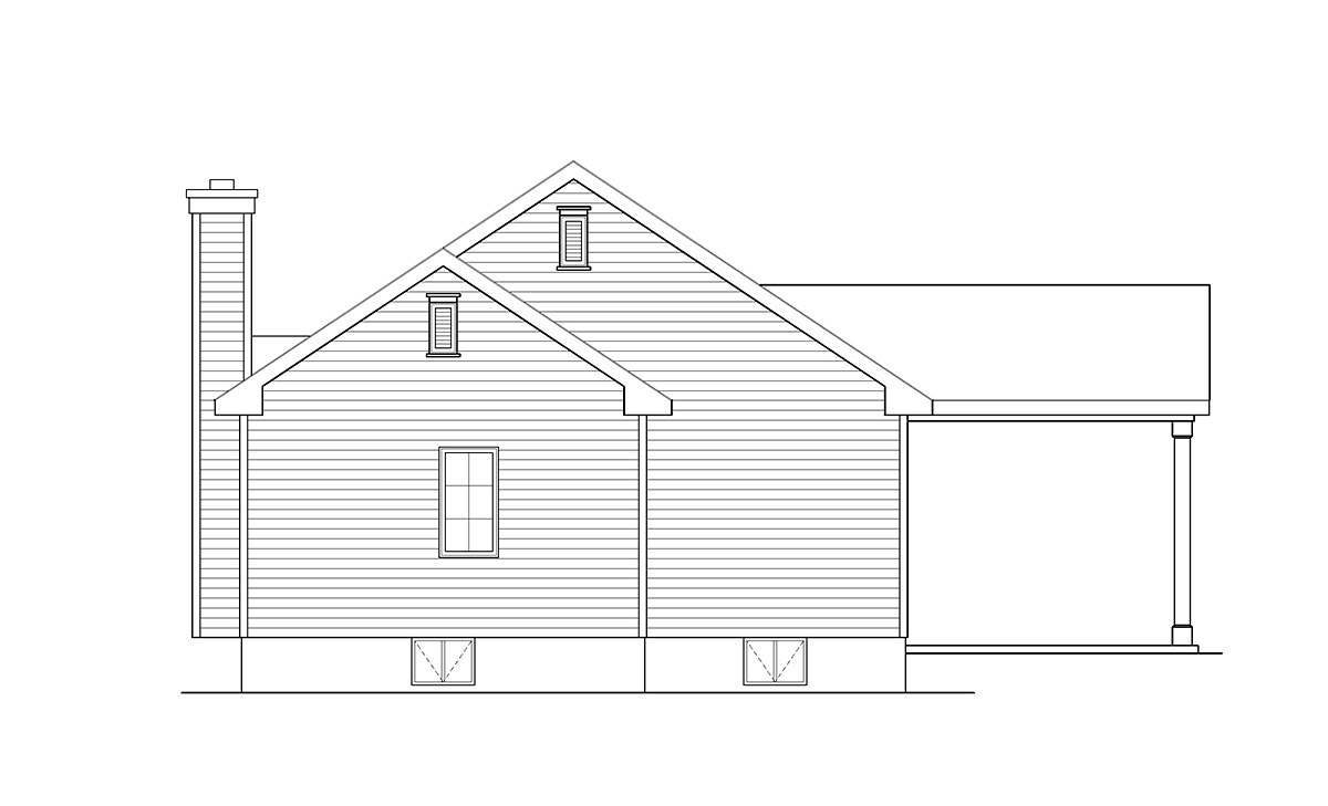Ranch, Traditional House Plan 45195 with 3 Beds, 2 Baths, 1 Car Garage Rear Elevation
