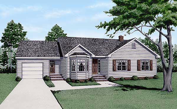 One-Story, Ranch House Plan 45232 with 3 Beds, 2 Baths, 1 Car Garage Elevation