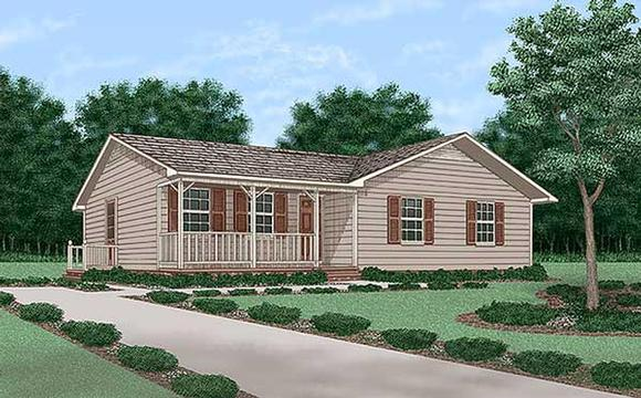 One-Story, Ranch House Plan 45257 with 3 Beds, 2 Baths Elevation