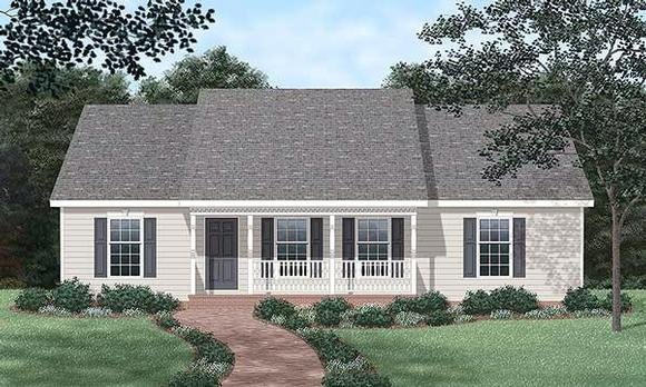 Ranch House Plan 45272 with 3 Beds, 3 Baths Elevation