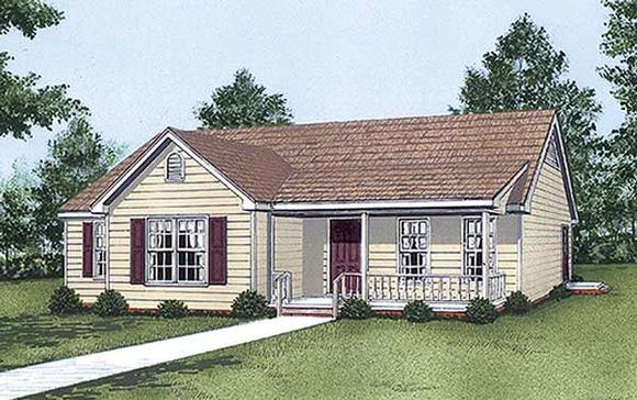 One-Story, Ranch House Plan 45294 with 3 Beds, 2 Baths Elevation