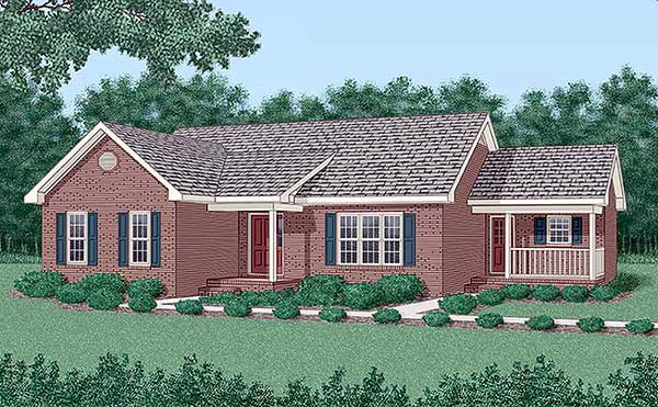 One-Story, Traditional House Plan 45301 with 3 Beds, 2 Baths Elevation