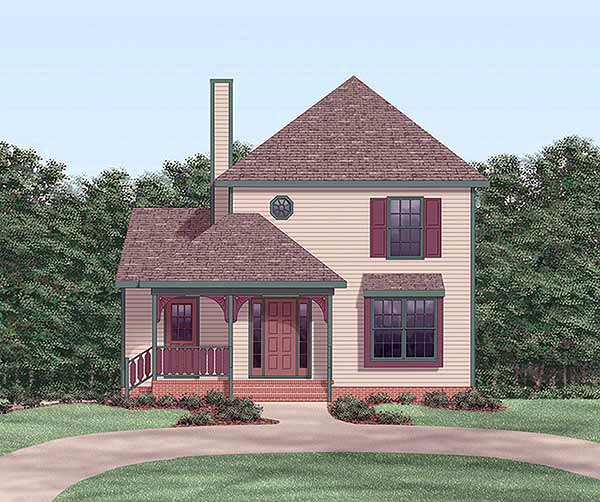 Narrow Lot, Traditional House Plan 45317 with 3 Beds, 2 Baths Elevation