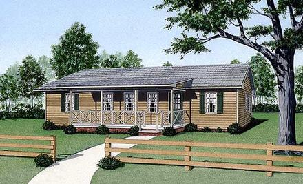 Ranch House Plan 45337 with 4 Beds, 2 Baths