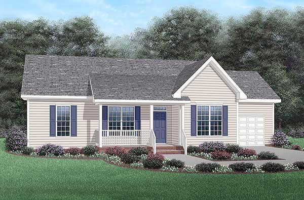 One-Story, Ranch House Plan 45341 with 3 Beds, 2 Baths, 1 Car Garage Elevation