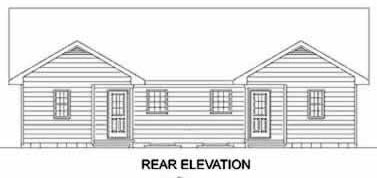 Rear Elevation of Traditional   Multi-Family Plan 45347