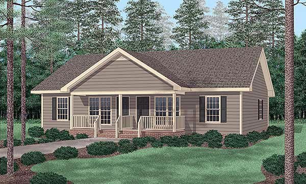 Traditional Multi-Family Plan 45347 Elevation