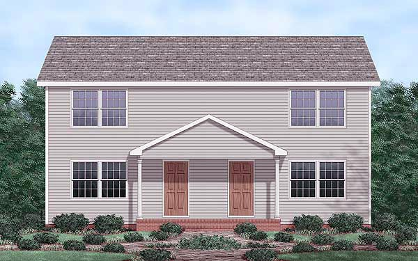 Colonial Multi-Family Plan 45353 Elevation