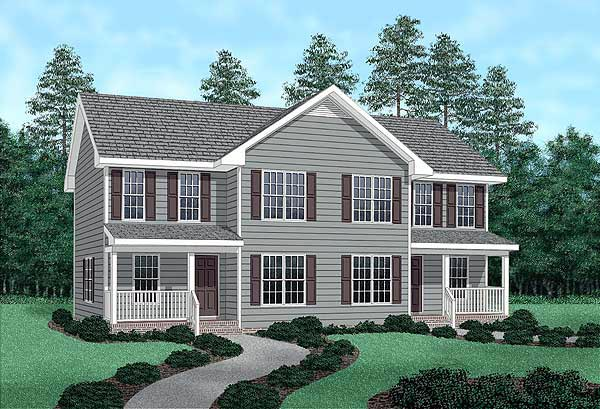 Country Multi-Family Plan 45358 Elevation