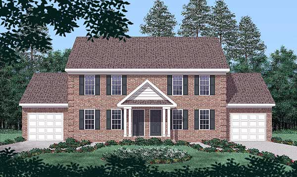 Colonial Multi-Family Plan 45369 with 4 Beds, 6 Baths, 2 Car Garage Elevation