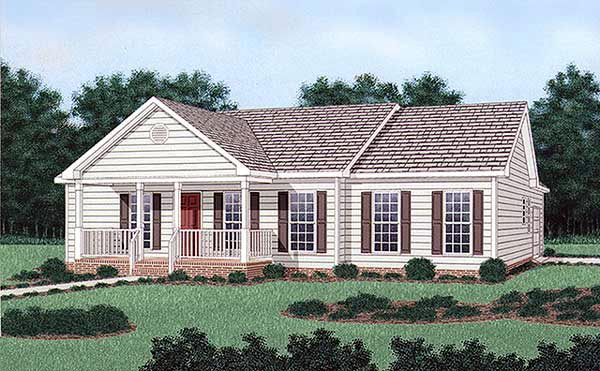 . Ranch Style House Plan Number 45380 with 3 Bed  2 Bath  1 Car Garage