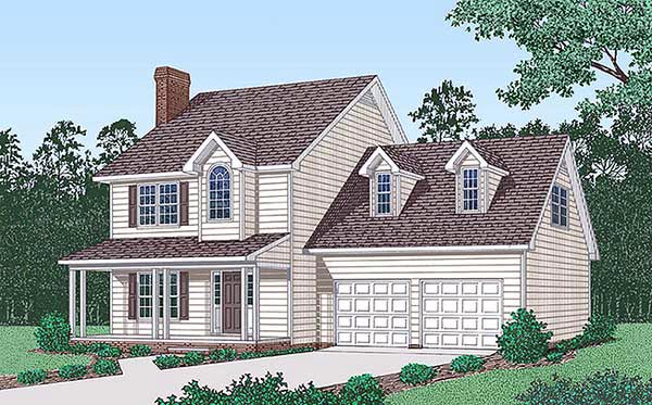 Country House Plan 45407 with 3 Beds, 2 Baths, 2 Car Garage Elevation