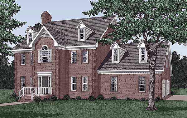 Colonial House Plan 45413 Elevation