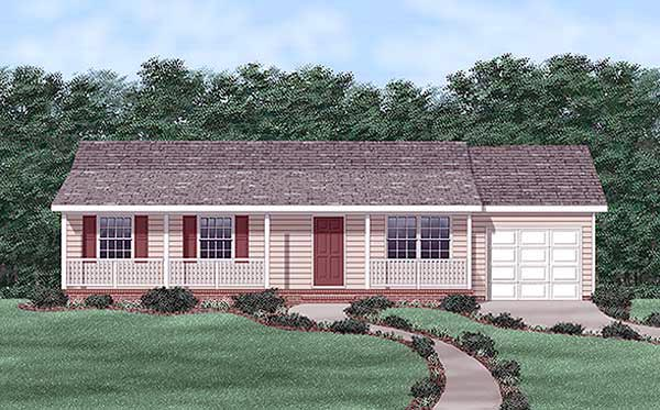 Ranch House Plan 45454 Elevation