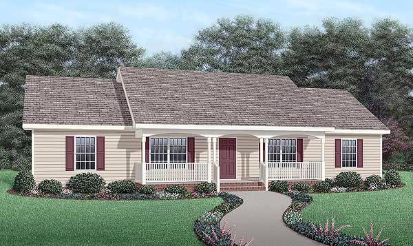 Cool Ranch Style House Additions. Ranch House Plan 45467 Elevation at FamilyHomePlans com