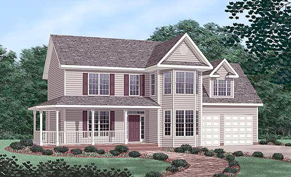 Farmhouse House Plan 45473 with 3 Beds, 3 Baths, 2 Car Garage Elevation