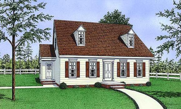 Cape Cod, Narrow Lot House Plan 45491 with 3 Beds, 2 Baths Elevation