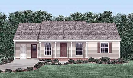 Ranch House Plan 45494 with 3 Beds, 2 Baths, 1 Car Garage