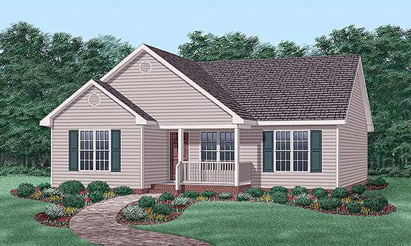 Narrow Lot, Traditional House Plan 45503 with 3 Beds, 2 Baths Elevation