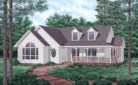 Country One-Story Elevation of Plan 45509