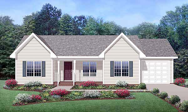 Country, Ranch House Plan 45515 with 3 Beds, 2 Baths, 1 Car Garage Elevation