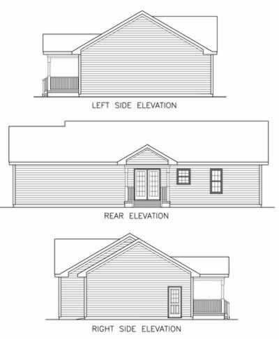 Country, Ranch House Plan 45515 with 3 Beds, 2 Baths, 1 Car Garage Rear Elevation