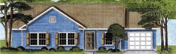 One-Story, Traditional House Plan 45607 with 3 Beds, 2 Baths, 1 Car Garage Elevation