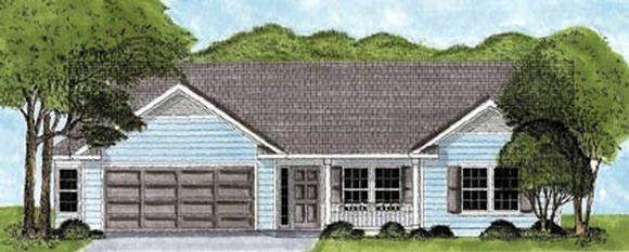One-Story, Ranch House Plan 45613 with 3 Beds, 2 Baths, 2 Car Garage Elevation