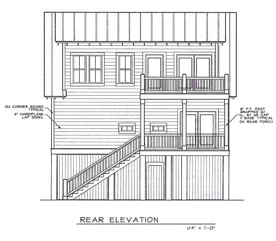 Coastal House Plan 45635 Rear Elevation