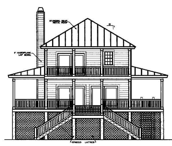 Coastal House Plan 45636 Rear Elevation