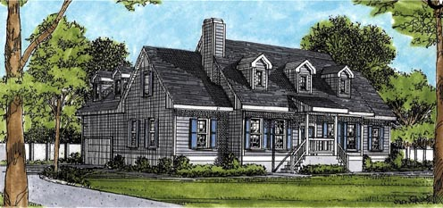 Cape Cod Country House Plan 45642 Elevation
