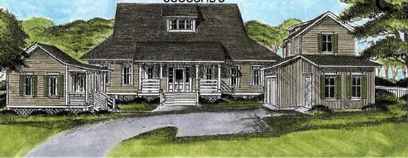 Country, European House Plan 45663 with 3 Beds, 4 Baths, 2 Car Garage Elevation