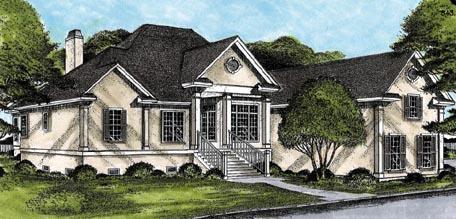 European House Plan 45664 with 3 Beds, 4 Baths, 2 Car Garage Elevation