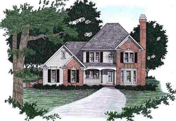 Traditional House Plan 45827 with 4 Beds, 2.5 Baths, 2 Car Garage Elevation