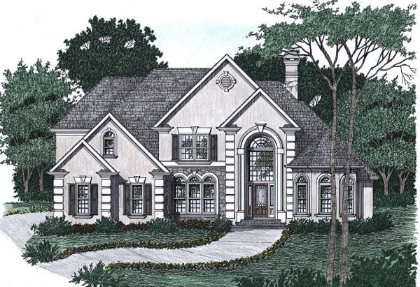 European House Plan 45852 with 4 Beds, 3.5 Baths, 2 Car Garage Elevation