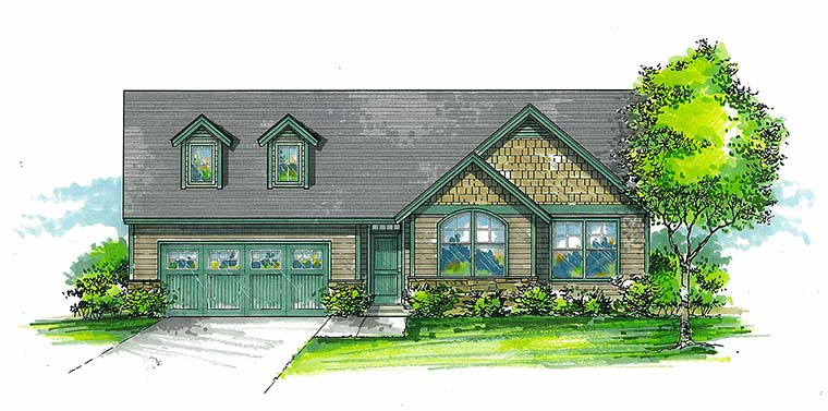 Craftsman Ranch Traditional House Plan 46271 Elevation