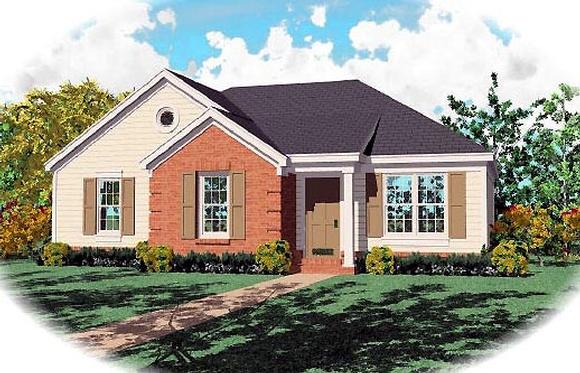 Ranch House Plan 46349 with 3 Beds, 2 Baths Elevation