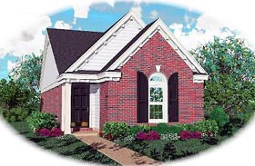 Narrow Lot , One-Story , Ranch House Plan 46354 with 2 Beds, 2 Baths Elevation