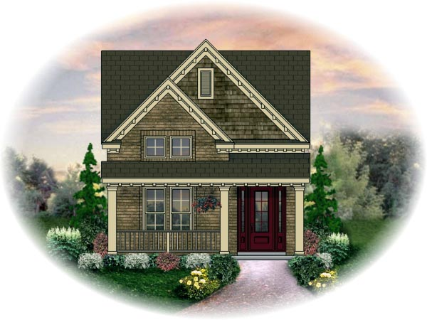 Narrow Lot House Plan 46359 with 3 Beds, 3 Baths, 2 Car Garage Elevation